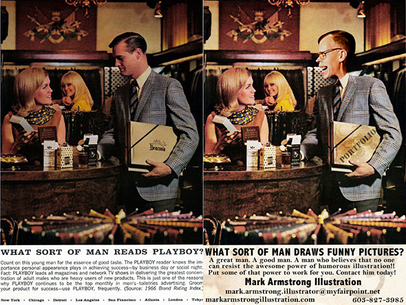 side by side comparison of original old magazine print ad for Playboy Magazine asking what sort of man reads Playboy and doctored version with illustrator Mark Armstrong caricature inserted