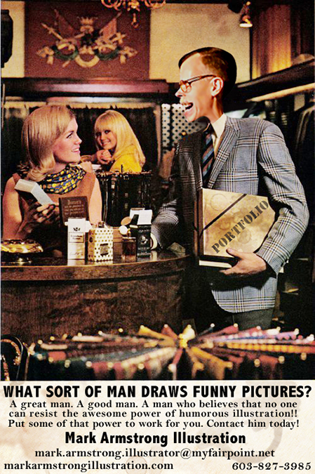 old magazine print ad for Playboy Magazine asking what sort of man reads Playboy with illustrator Mark Armstrong holding coffee-stained portfolio and getting admiring glances from two beautiful women