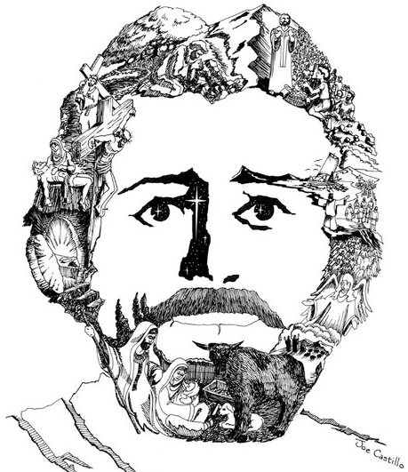 pen & ink drawing of the face of Jesus Christ by sand artist Joe Castillo who incorporated scenes from the life and death of Christ into the portrait making them actual parts of the face