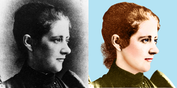 Old dark blemished B&W photo of children's author and illustrator Beatrix Potter before and after it was cleaned up, corrected, colorized, and pasted onto new background after hair extraction