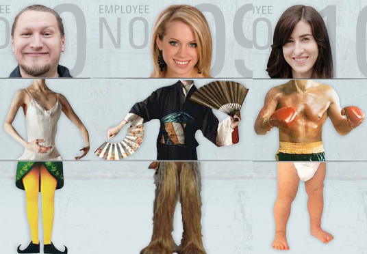 Three employees at Rusty George Creative from website which flips their heads, torsos, and legs so that their bodies are mixed up into thirds with different costumes and poses looking silly and funny