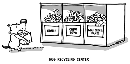 B&W cartoon of dog bringing old bones, chew toys, and mailman's pants to recycling center