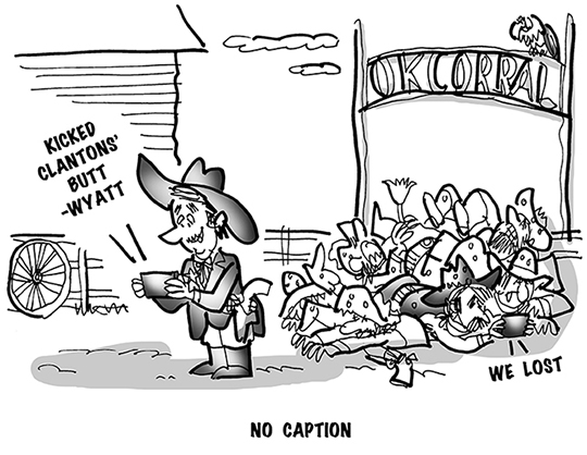 B&W cartoon showing marshal Wyatt Earp text messaging his victory over the Clanton Gang at the OK Corral