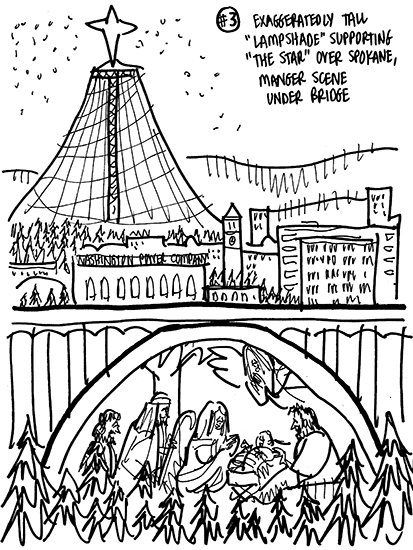 rough sketch for Christmas cover for Inland Register, diocesan Catholic newspaper for Spokane, Washington, showing Spokane cityscape with Lampshade Christmas tree and manger scene under bridge