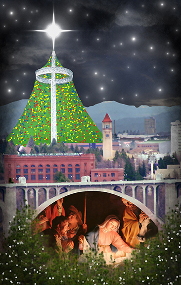 Christmas cover for Inland Register, diocesan Catholic newspaper for Spokane, Washington, showing Spokane cityscape with Lampshade Christmas tree and manger scene under bridge