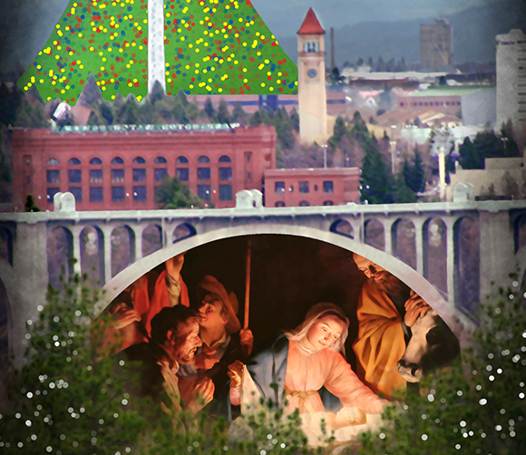 Detail image from Christmas cover for Inland Register, diocesan Catholic newspaper for Spokane, Washington, showing Spokane cityscape with Lampshade Christmas tree and manger scene under bridge