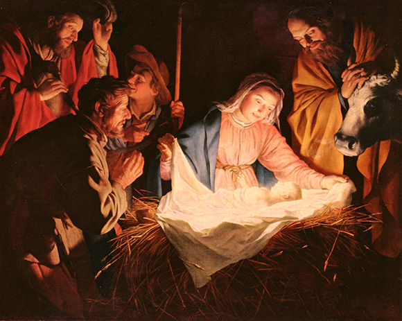 "hue and saturation color adjustment for the painting ""Adoration of the Shepherds"" (1622) by Dutch painter Gerard van Honthorst which is now in the public domain"