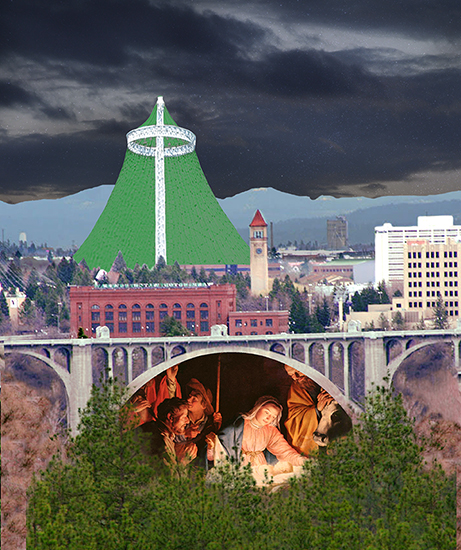 insert Nativity painting into Christmas cover for Inland Register, diocesan Catholic newspaper for Spokane, Washington, showing Spokane cityscape with Lampshade Christmas tree and manger scene under bridge