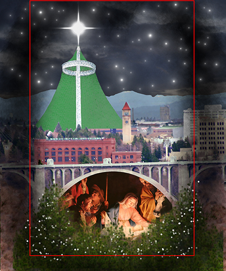 darken edges, insert stars in night sky, and add bokeh lights to pine tree in Christmas cover for Inland Register, diocesan Catholic newspaper for Spokane, Washington, showing Spokane cityscape with Lampshade Christmas tree and manger scene under bridge
