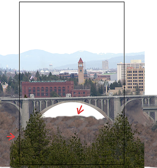 how pine trees and scrub brush were cloned and used in Christmas cover for Inland Register, diocesan Catholic newspaper for Spokane, Washington, showing Spokane cityscape with Lampshade Christmas tree and manger scene under bridge