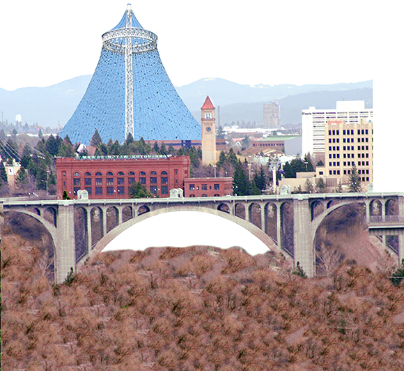 Lampshade inserted into Christmas cover for Inland Register, diocesan Catholic newspaper for Spokane, Washington, showing Spokane cityscape with Lampshade Christmas tree and manger scene under bridge