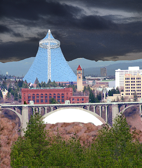Night sky inserted into Christmas cover for Inland Register, diocesan Catholic newspaper for Spokane, Washington, showing Spokane cityscape with Lampshade Christmas tree and manger scene under bridge
