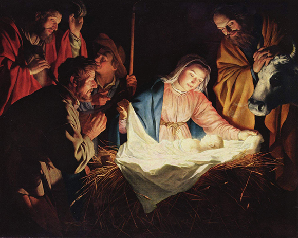 "the painting ""Adoration of the Shepherds"" (1622) by Dutch painter Gerard van Honthorst which is now in the public domain"
