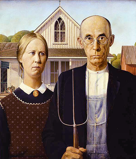American Gothic painting by artist Grant Wood