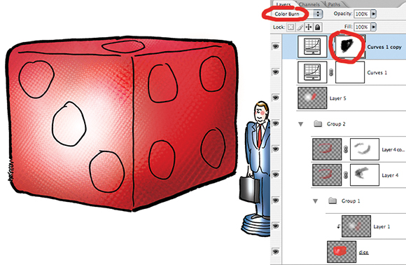 illustration showing dice and board game playing piece in form of little corporate lawyer man with briefcase and Photoshop Layers palette showing how illustration was constructed using blending modes and layer masks