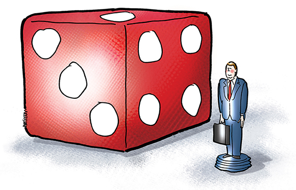 illustration for legal magazine showing large die from set of dice on game board with game playing piece in form of little corporate lawyer man with briefcase