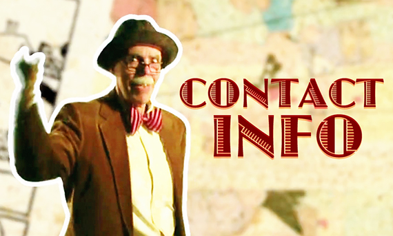 Illustrator Mark Armstrong dressed as Inky Draws, The World's Oldest Living Cartoonist, against comic strip background as Contact Info graphic on blog About Page