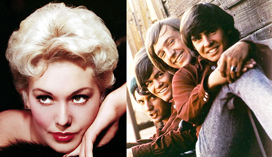 publicity photo for Hollywood actress Kim Novak and photo used for rock group The Monkees first record album showing members Mike Nesmith, Mickey Dolenz, Peter Tork, and Davy Jones