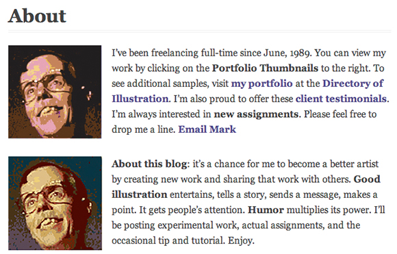 old and original About Page for Mark Armstrong Illustration blog showing photos of illustrator Mark Armstrong