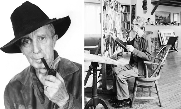 painter Norman Rockwell dressed for bit part in remake of movie Stagecoach and painting in his studio in Stockbridge, Massachusetts