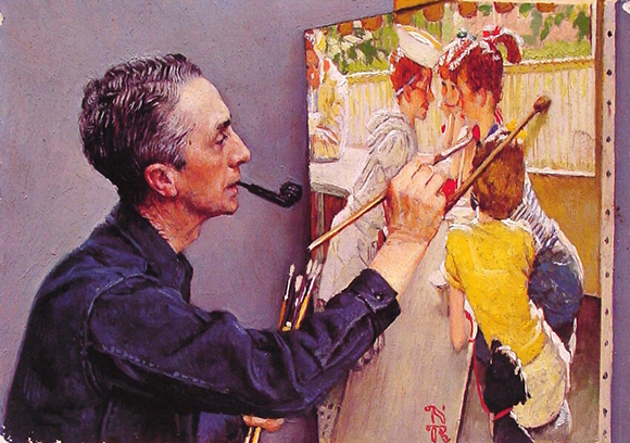 Norman Rockwell self-portrait of himself painting 1953 Saturday Evening Post cover titled the Soda Jerk