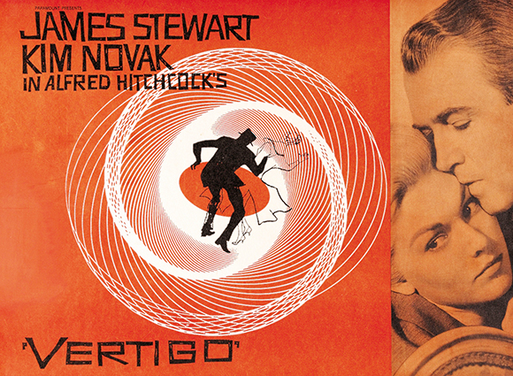poster for Alfred Hitchcock movie Vertigo starring Kim Novak and James Stewart