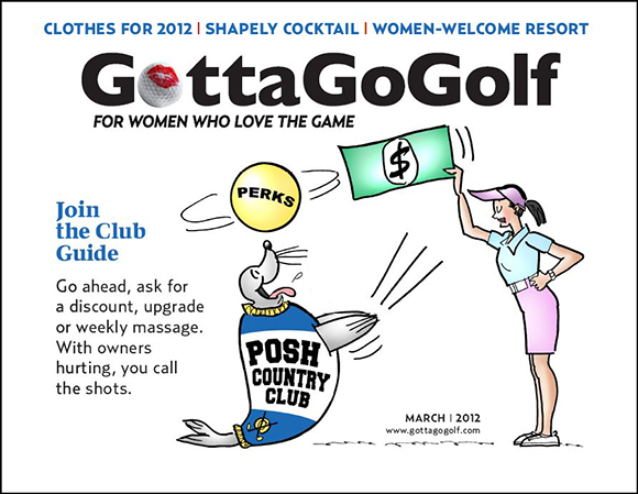 cover illustration for women's online golf magazine, showing woman golf with money negotiating for good membership deal with country club represented by a seal who's eager to please and do tricks in order to make a deal