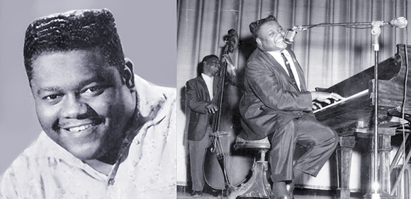 rhythm and blues pianist, singer, and songwriter Fats Domino, studio portrait and in concert playing the piano and singing his big hit songs Blueberry Hill and Walking To New Orleans