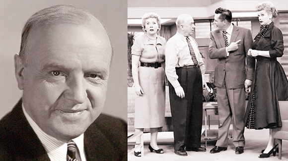 Portrait photo of actor William Frawley and scene from an episode of the television series I Love Lucy, starring Desi Arnaz, Lucille Ball, Vivian Vance, and William Frawley