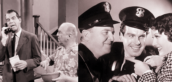Scene from episode of television series My Three Sons, starring Fred MacMurray and William Frawley, and scene from old movie Car 99, starring William Frawley, Fred MacMurray, and Ann Sheridan