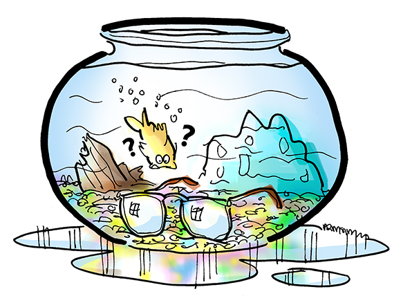 Goldfish bowl illustration, with puzzled goldfish looking at pair of eyeglasses which are resting on bottom of bowl
