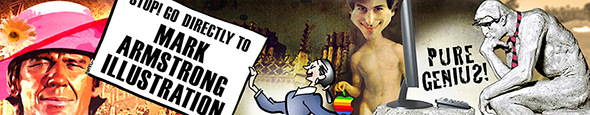 composite new blog header image for Mark Armstrong Illustration featuring Charles Bronson, business card, Steve Jobs, and The Thinker