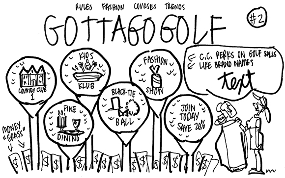 rough sketch for woman's golf magazine cover showing oversized golf balls on tees, with country club membership benefits represented by different logos on the golf balls