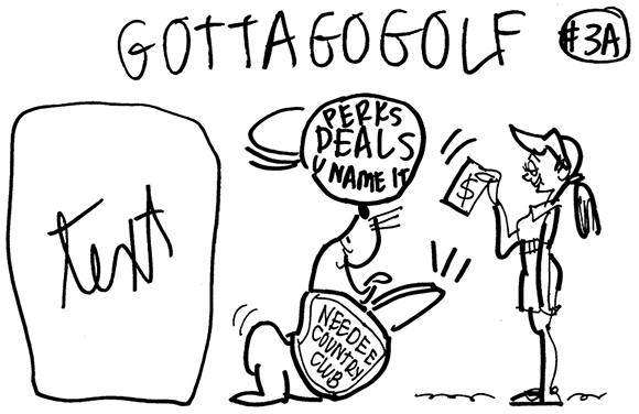 rough sketch for very simple women's golf magazine cover showing woman golfer waving money to get seal to perform tricks and give her whatever benefits she wants if she will join the country club