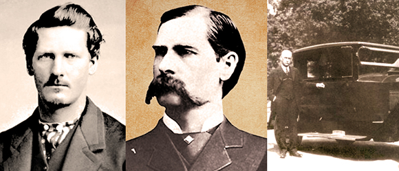 photos of western lawman legend Wyatt Earp famous for being marshall of Tombstone, Arizona and shooting the Clantons at the OK Corral