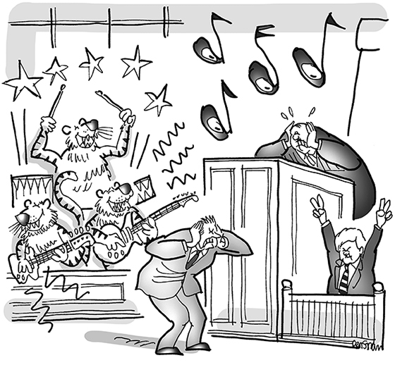 cartoon with tigers playing in rock band in courtroom jury box for joke about a lawsuit where rock group Survivor sued politician Newt Gingrich for using their old hit song Eye Of The Tiger at campaign rallies without permission
