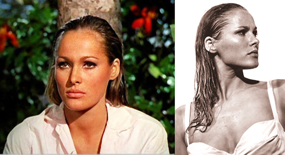 photos of actress Ursula Andress famous for being the first Bond Girl Honey Ryder in the James Bond movie Dr. No with Sean Connery