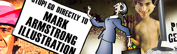new blog header for Mark Armstrong Illustration with corporate business woman pasted in and scaled down separately