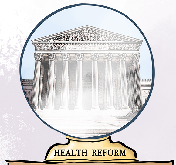 "illustration detail showing crystal ball with ""Health Reform"" written on its base and inside showing the United States Supreme Court Building and crystal is cloudy because no one knows whether supreme court justices will rule Obamacare and healthcare individual mandate unconstitutional"