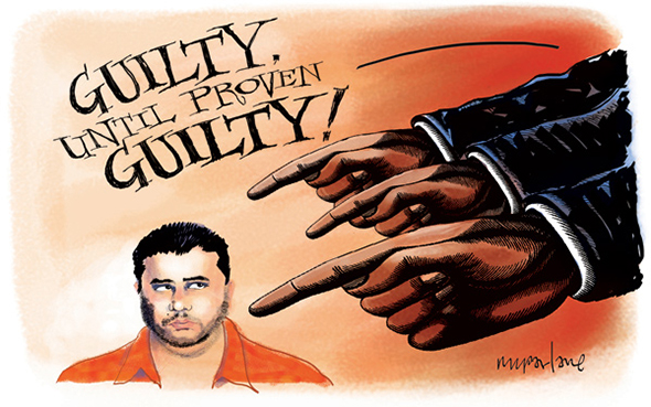 editorial cartoon about Trayvon Martin shooting which shows media condemning George Zimmerman and declaring him guilty until proven guilty