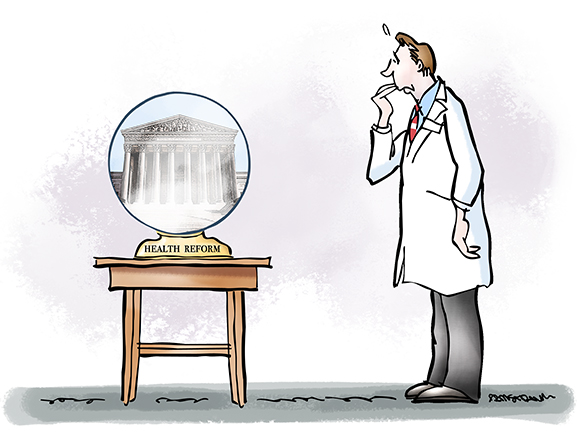 "doctor physician looking nervously at crystal ball which has ""Health Reform"" written on its base and showing the United States Supreme Court Building where judges are deciding whether Obama's new healthcare law and mandate known as Obamacare is constitutional"