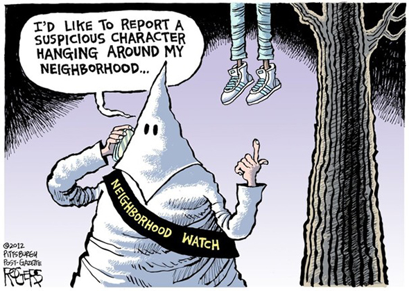 editorial cartoon which compared the Trayvon Martin shooting to racist Klu Klux Klan lynching people just for being black
