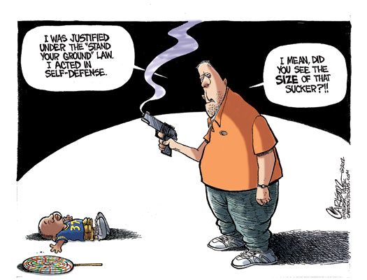 editorial cartoon on Trayvon Martin shooting which shows big white guy shooting little black kid because he felt threatened by the kid's lollipop