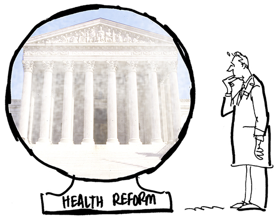 revised sketch for Healthcare Finance News illustration about Supreme Court deciding whether new healthcare law is constitutional and showing nervous doctor in lab coat standing and looking at very large crystal ball
