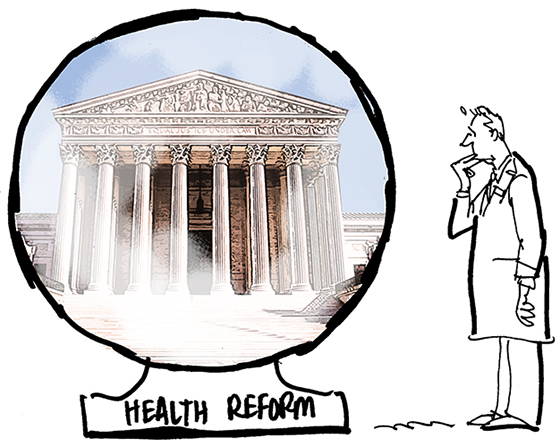 revised sketch for Healthcare Finance News illustration about Supreme Court deciding whether new healthcare law is constitutional and showing nervous doctor in lab coat standing and looking at very large crystal ball with United States Supreme Court Building sharpened and better defined using Photoshop