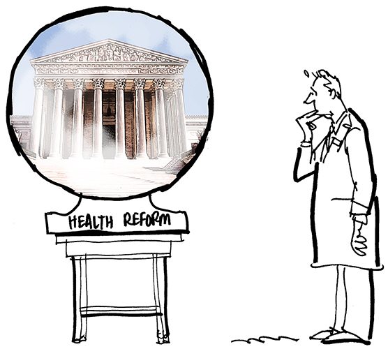 revised sketch for Healthcare Finance News illustration about Supreme Court deciding whether new healthcare law is constitutional and showing nervous doctor in lab coat and crystal ball is smaller and resting on a table