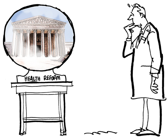 revised sketch for Healthcare Finance News illustration about Supreme Court deciding whether new healthcare law is constitutional and showing nervous doctor in lab coat and crystal ball reduced in size