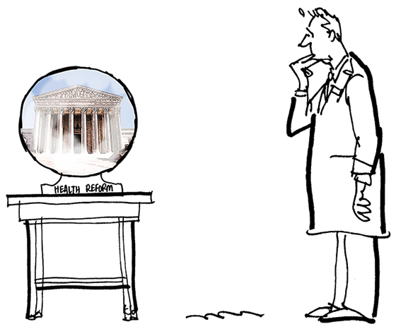 revised sketch for Healthcare Finance News illustration about Supreme Court deciding whether new healthcare law is constitutional and showing nervous doctor in lab coat and crystal ball made even smaller