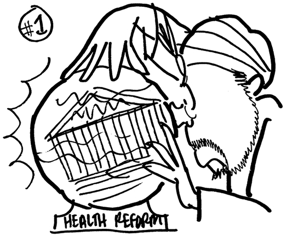 rough sketch for Healthcare Finance News illustration about Supreme Court deciding whether new healthcare law is constitutional and showing swami type fortune teller straining to see into cloudy crystal ball