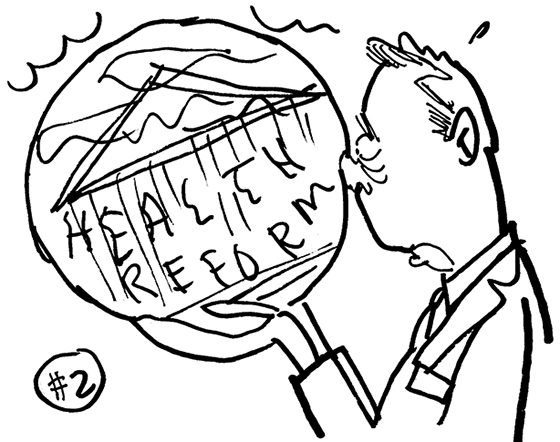 rough sketch for Healthcare Finance News illustration about Supreme Court deciding whether new healthcare law is constitutional and showing doctor physician guy trying to see into cloudy crystal ball